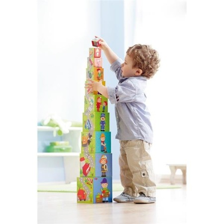 Kostka - Układanka Autka, piramida kartonowa dla dzieci 12m+, 10 pudełek, HABA