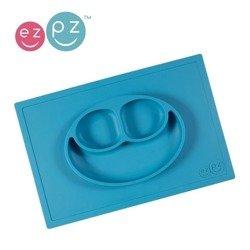 Silikonowy talerzyk dla dzieci z podkładką 2w1 Happy Mat niebieski, EZPZ