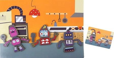 Magnetyczna układanka ROBOTY - tablica magnetyczna z magnesami w walizce, Small Foot