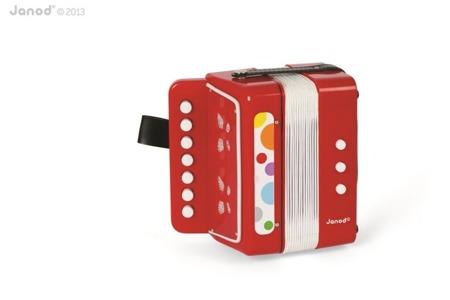 Akordeon Confetti - czerwony akordeon instrument muzyczny dla dzieci, Janod