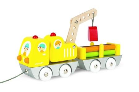Ciężarówka do transportu drewna z dźwigiem - samochód transportowy, Janod