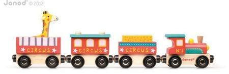 Cyrk pociąg drewniany - 3 wagony + lokomotywa - pociąg na magnesy, Janod