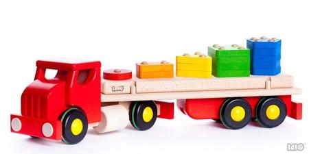 Drewniana ciężarówka sorter - DUŻA ciężarówka z naczepą i sorterem figur, kształtów, BAJO