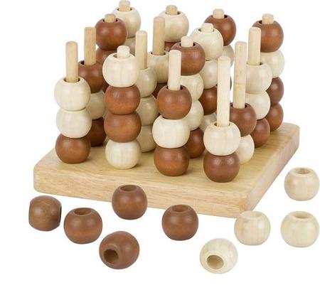 """Drewniana gra """"kółko i krzyżyk"""" 3D - układanka strategiczna dla dzieci 6 lat +, GOKI HS058"""