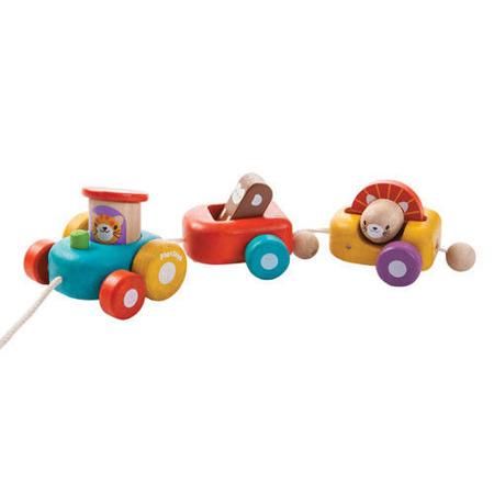 Drewniana kolejka dla dzieci na sznurku - Szczęśliwy pociąg zwierząt do ciągnięcia, Plan Toys PLTO-5131