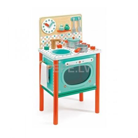 Drewniana kuchenka dla dzieci - kuchnia LEO wraz z akcesoriami ZESTAW DJECO, DJ06626