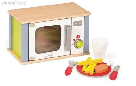 Drewniana kuchenka mikrofalowa z 9 akcesoriami - drewniana mikrofalówka dla dzieci, Janod
