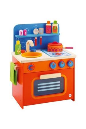 Drewniana kuchenka z piekarnikiem, zlewem i akcesoriami - 12 elementowa kuchnia dla dzieci, SEVI