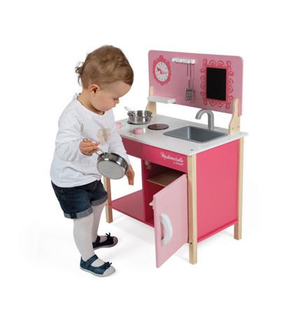 Drewniana kuchnia dla dzieci różowa Mademoiselle - zlew, kuchenka, 3+,  Janod