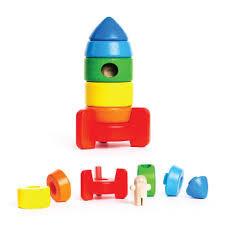 Drewniana piramida rakieta - drewniane klocki do układania, sorter, BAJO