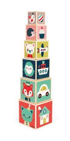 Drewniana piramida, wieża, 6 klocków - nauka kształtów, cyferek, zwierząt Baby Forest, JANOD