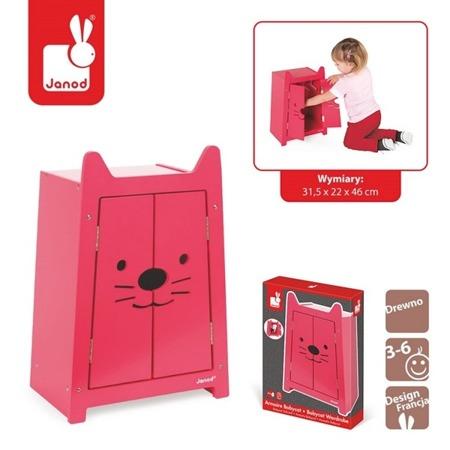 Drewniana szafa na ubranka dla lalek Babycat, JANOD J05898