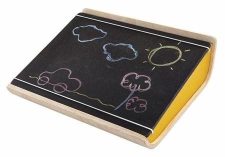 Drewniana tablica kredowa - przenośna tablica na kredę dla dzieci, Plan Toys