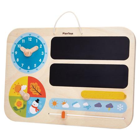 Drewniana tablica - stacja pogodowa, zegar, moja pierwsza tablica, Plan Toys
