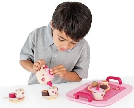 Drewniana taca do herbaty - zestaw kuchenny dla dzieci z ciasteczkami, 22 elementy, Sevi