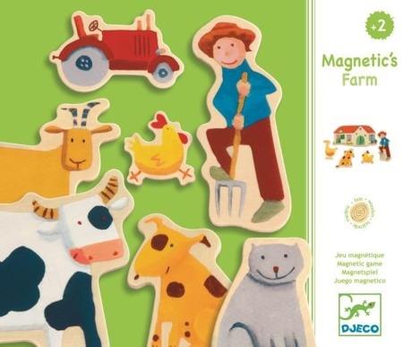 Drewniana układanka magnetyczna FARMA - zwierzęta wiejskie, DJECO DJ03110