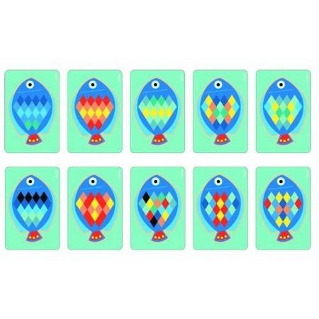 Drewniana układanka - mozaika rybka 3+ zestaw z kartami do odwzorowywania DJECO, DJ01692