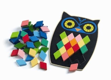 Drewniana układanka - mozaika sowa 3+ zestaw z kartami do odwzorowywania DJECO, DJ01693