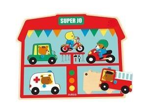 Drewniana układanka muzyczna - pojazdy (motor, auto, rower, karetka, straż pożarna), DJECO DJ01709
