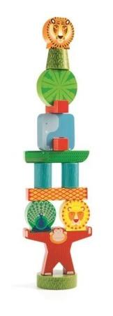 Drewniana układanka, piramida, wieża - STACKY JUNGLE, DJECO DJ06431 N