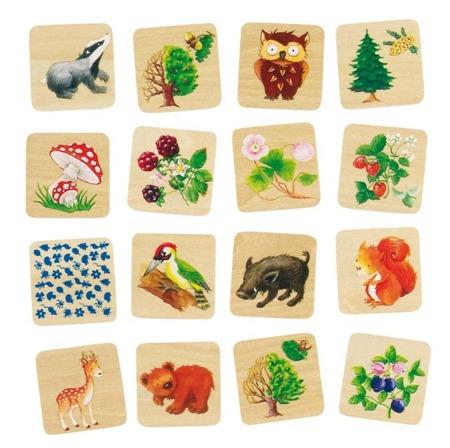 Drewniana zgadywanka dla dzieci - zwierzęta w lesie, GOKI 56869