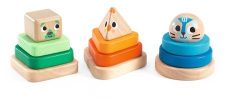 Drewniane PIRAMIDKI - układanka dla maluchów, zabawka wczesnorozwojowa, 18m+, DJECO DJ06307