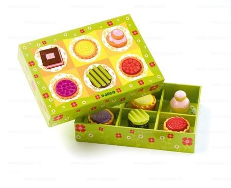 Drewniane ciasteczka w pudełku - ciasteczka z drewna do dziecięcej kuchni, zabawy w dom, DJECO