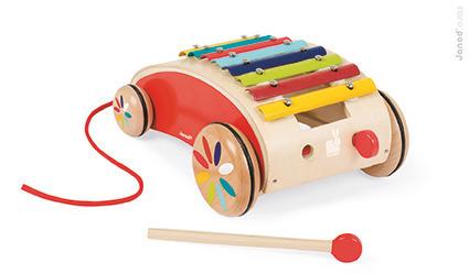 Drewniane cymbałki na wózeczku - cymbałki do ciągnięcia, Janod
