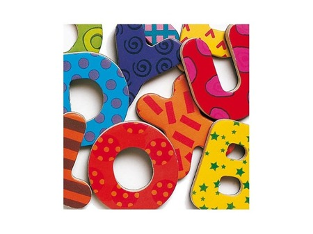 Drewniane literki magnetyczne dla dzieci ALFABET - litery do nauki alfabetu DJECO DJ03100