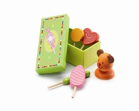 Drewniane lizaki dla dzieci - lizaki do kuchni, cukierni wraz ze stojakiem, DJECO