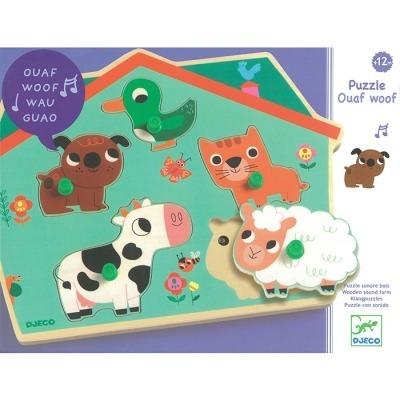 Drewniane puzzle dźwiękowe - układanka z dźwiękiem zwierzęta DJECO, DJ01707
