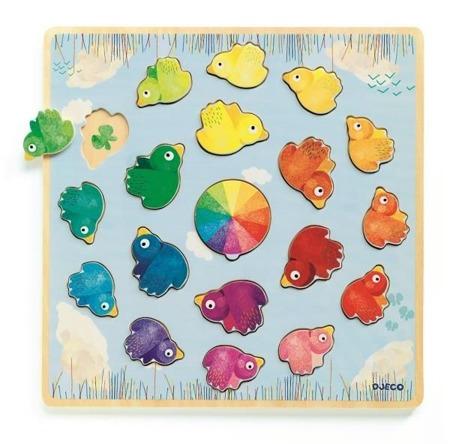 Drewniane puzzle edukacyjne kształty i kolory  LUDICOLORI, DJ01807 N DJECO