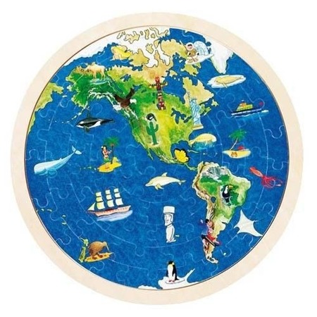Drewniane puzzle mapa świata - globus, kula ziemska, 57 elementów, GOKI 57666
