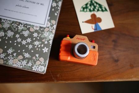 Drewniany aparat fotograficzny (kalejdoskop) z dźwiękami i światłem, JANOD