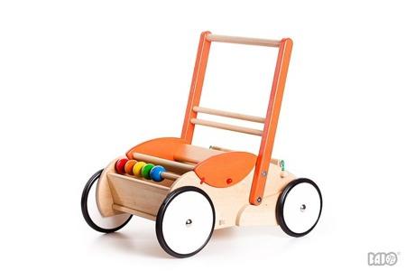 Drewniany chodzik pchacz dla dzieci - chodzik (wózek) na klocki, dla lalek, Bajo