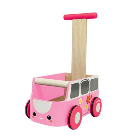 Drewniany chodzik, pchacz żółty van walker - jeździk w kształcie samochodu, Plan Toys