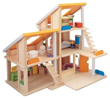 Drewniany domek dla lalek z mebelkami, Plan Toys - domek dla lalek składany na wiele sposobów