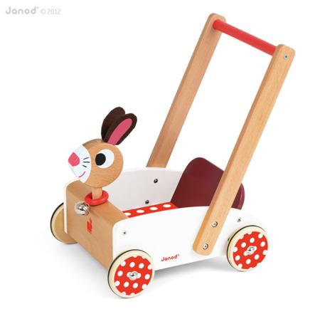 Drewniany pchacz dla dzieci - edukacyjny wózek Szalony królik, chodzik, Janod