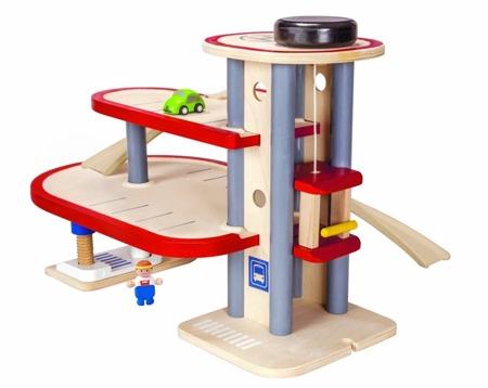 Drewniany piętrowy parking - garaż samochodowy i auta w zestawie, Plan Toys