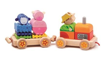 Drewniany pociąg ze zwierzątkami, nakładane klocki, DJECO DJ06314