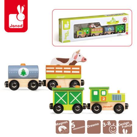 Drewniany pociąg ze zwierzętami - kolejka drewniana FARMA, 3 lata +, Janod