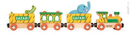 Drewniany pociąg ze zwierzętami - kolejka drewniana SAFARI, 3 lata +, Janod