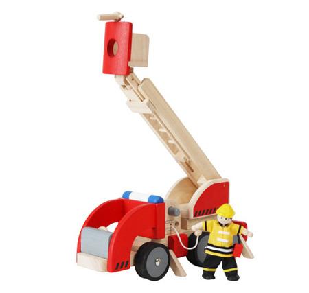 Drewniany pojazd Samochód straży pożarnej - DUŻY wóz strażacki, Plan Toys