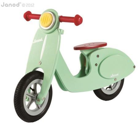 Drewniany rowerek biegowy miętowy Scooter - rowerek dla dzieci, Janod