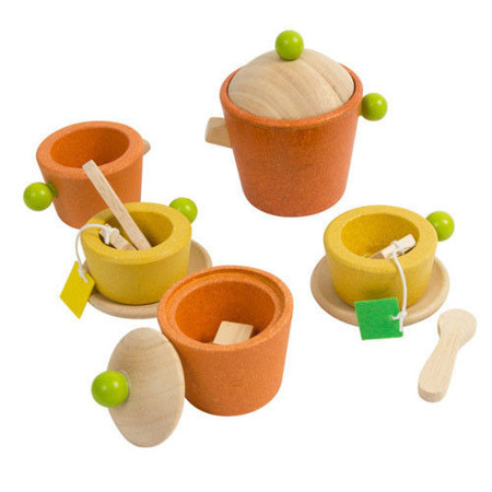 Drewniany serwis do herbaty - drewniany zestaw do zabawy w piknik, dom, Plan Toys PLTO-3604