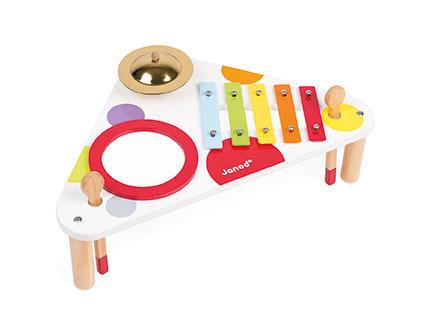 Drewniany stolik muzyczny - stoliczek edukacyjny dla niemowląt i małych dzieci Confetti, JANOD, J07634