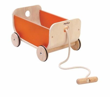 Drewniany wózek – wagon do ciągnięcia pomarańczowy, Plan Toys PLTO-8614