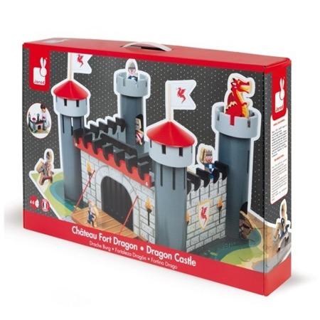 Drewniany zamek rycerski z 9 akcesoriami, 4 lata +, JANOD