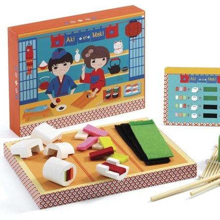 """Drewniany zestaw do przygotowywania sushi - """"AKI et MAKI"""" dla dzieci, 4 lata +, DJECO"""