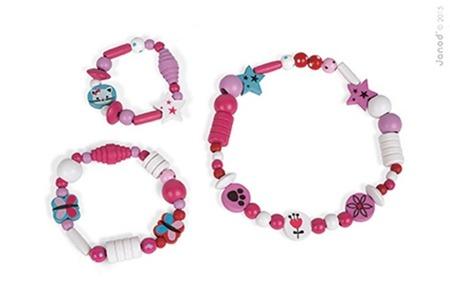 Drewniany zestaw do tworzenia biżuterii w puszce 250 koralików Kotek, Janod